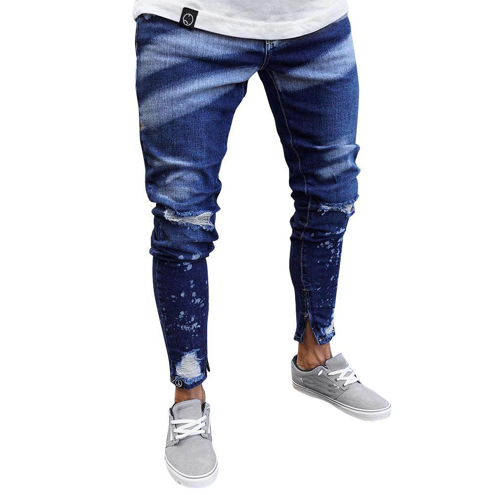 Men Jeans Popular Fashion All-match Painting Zipper Slim Distressed Jeans Pants for Outdoor Daily Wear Breathable and Comfortable Daily Casual Fashion Clothing