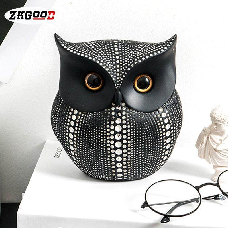 zkgood Nordic Style Cute Owl Shape Resin Decoration Ornament Crafts for Home Office