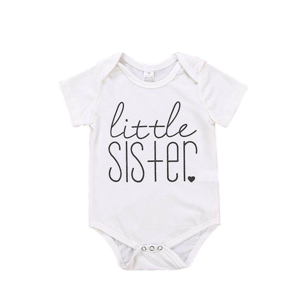 09b14b971e0e Easy Fun Baby Girls Clothes Little Sister Letters Printing Short Jumpsuit  Rompers Sleeve Newborn Kids T