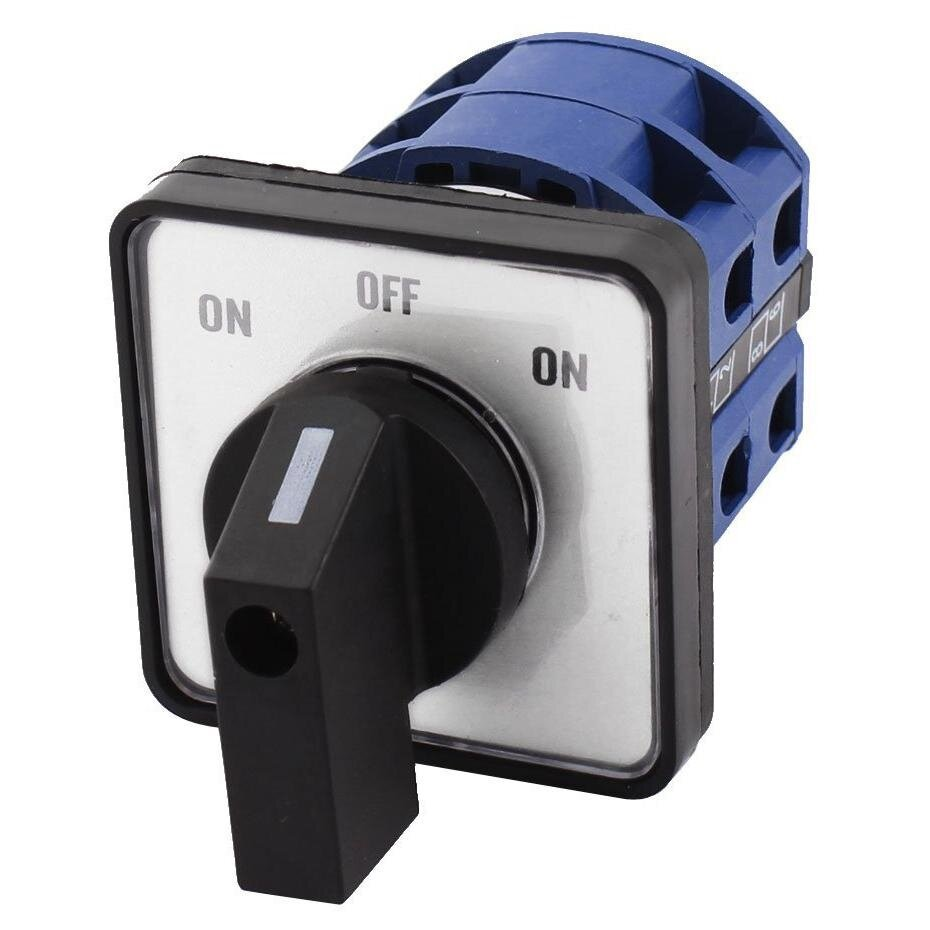 AC660V 25A 2-Pole 3-Position Momentary Plastic Rotary Changeover Switch Blue+Black