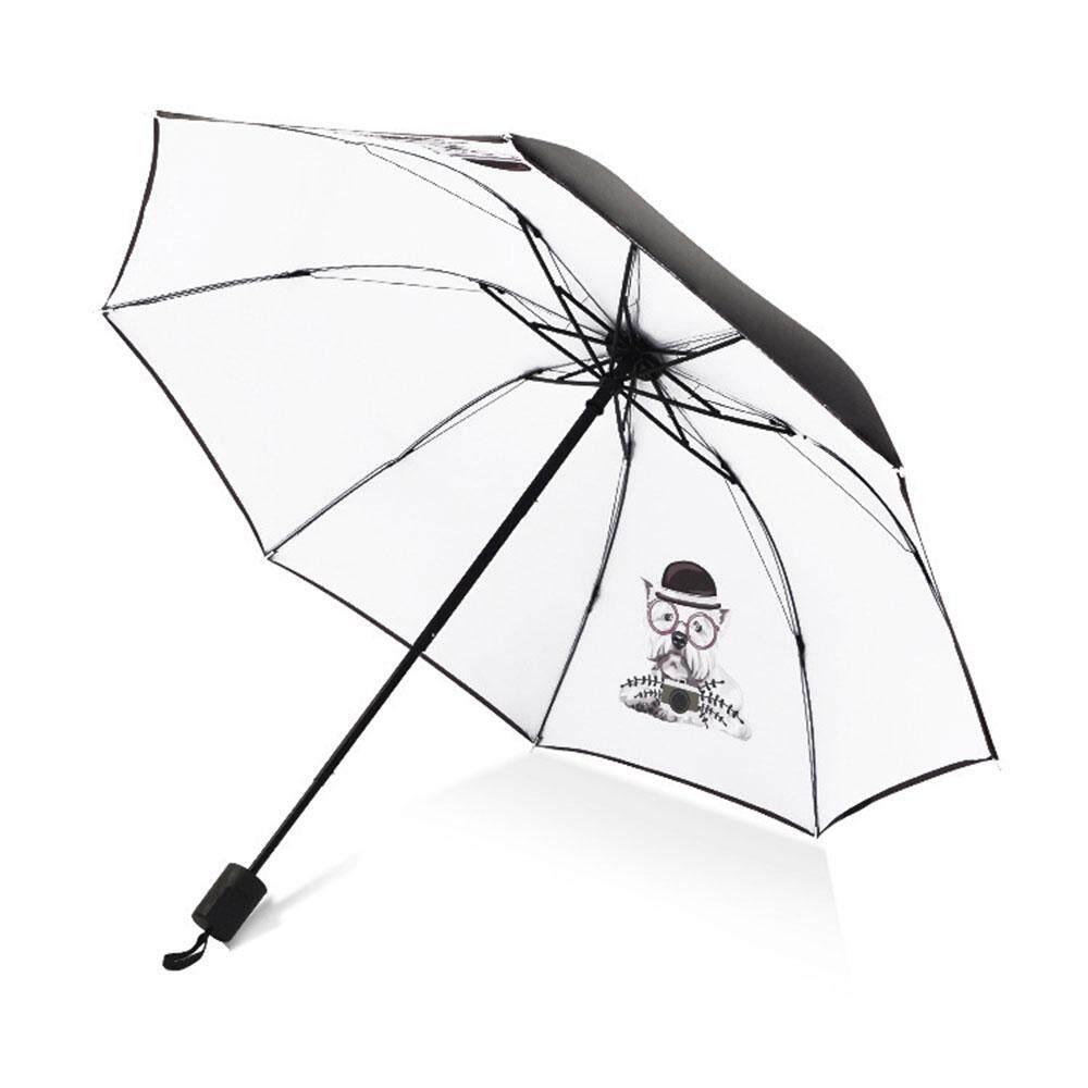 8c79b880e Portable Umbrella Dog Printing Tri-Folded 8 Bones Black Adhesive Cloth  Travel Rainy Day Waterproof