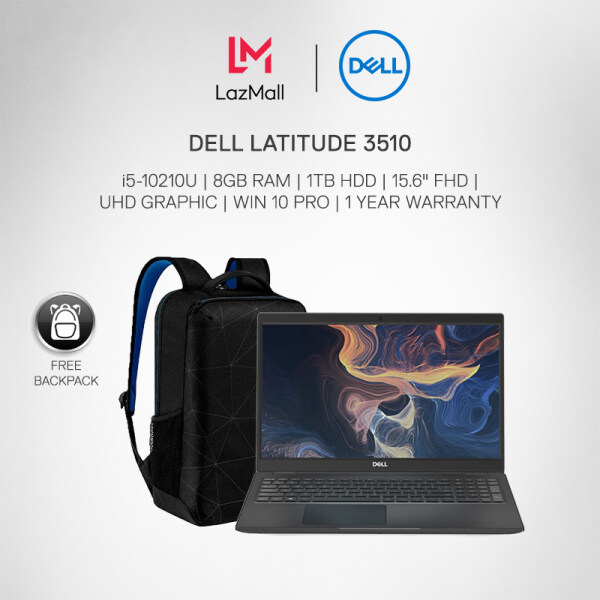 DELL LATITUDE 3510 BUSINESS LAPTOP (i5-10210U/8GB RAM/ 1TB HDD/ 15.6 FHD/ UHD GRAPHIC/ WIN 10 PRO/1 YEAR WARRANTY) + Backpack Malaysia