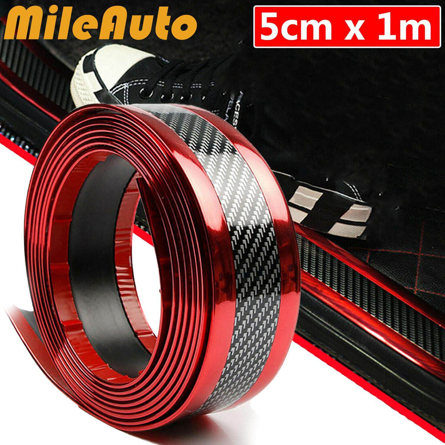 5cm*1m Carbon Fiber Red Car Door Sill Scuff Plate Guard Pedal Protector  Strips