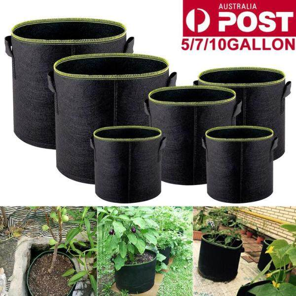 5 Pieces of Non-woven Green Edge Fluorescent Plant Bag Garden Plants Planting Bags Felt Cloth Material Can Be Reused Greenhouse Use