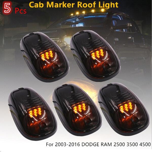 Tra 5 Chiếc Mào Taxi Hun Khói Mái Nhà 9LED Màu Hổ Phách Cho F150 Dodge Ram 2500 3500 4500