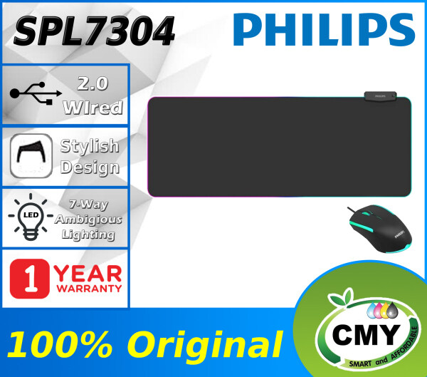 Philips L304 SPL7304 Momentum Series Wired RGB Gaming Mouse Pad 800mm x 320mm x 4mm 4mm Thickness 7's Color Breathing Lamp One Touch Lighting Adjust Button 4's USB Port for Charging & Connection Non-Slip Rubber Base Malaysia
