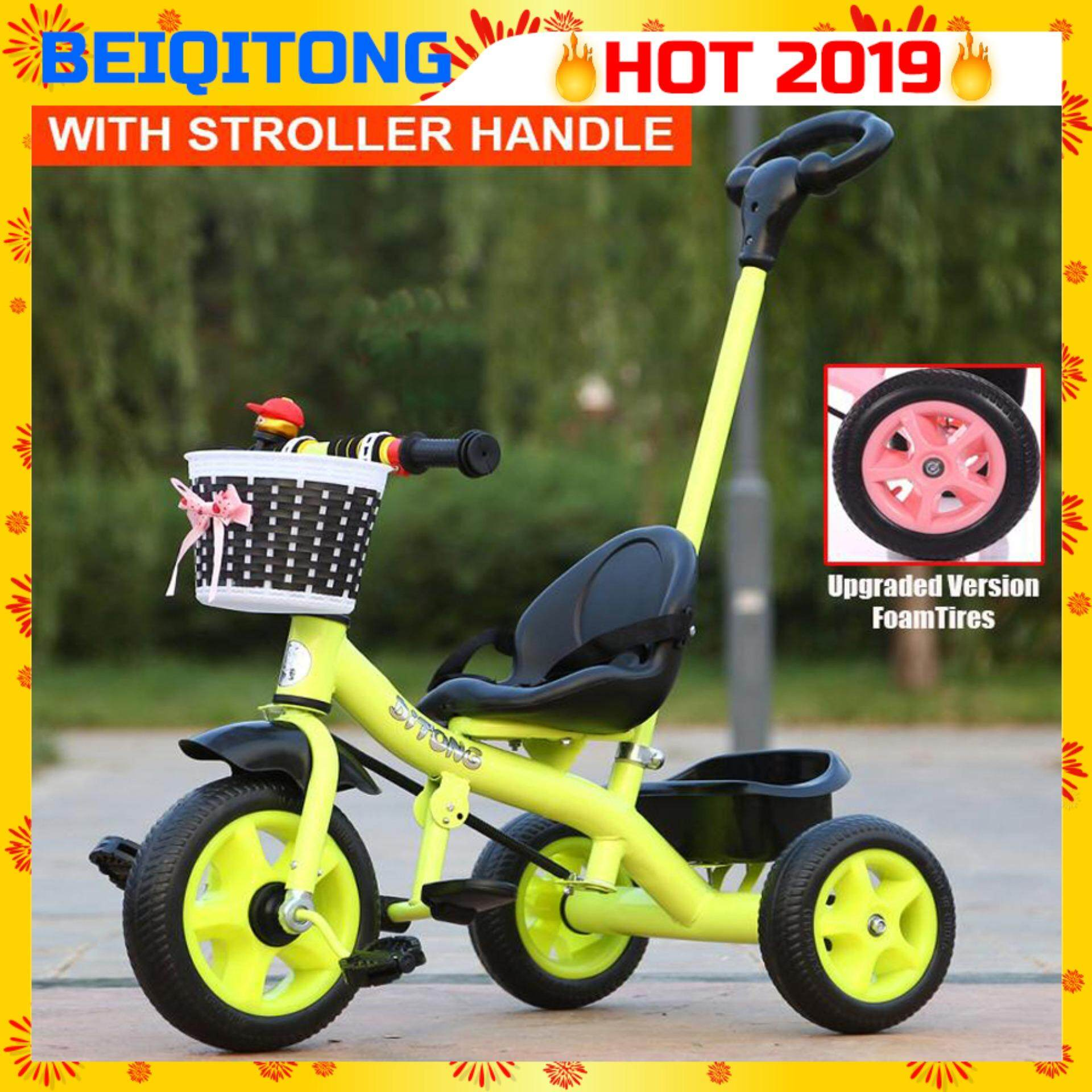 BEIQITONG YBT [BT55] Kids Tricycle Baby Walker Bicycle Children's Outdoor Toys Bicycles Ride On Bikes With Stroller Handle