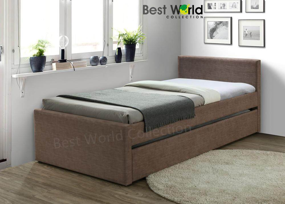 Best SOHO CF 9090 Fabric Single Bed with Trundle (Colour : Brown)