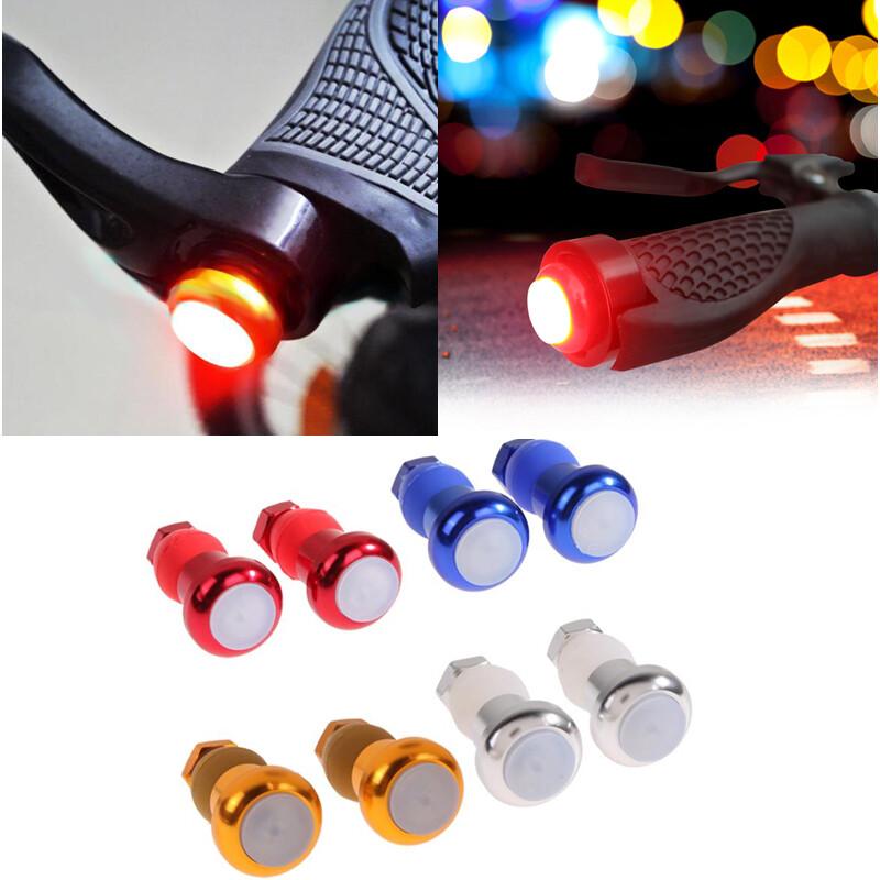 Helpful LED Red Light Lamp Handle Bar End Plug Safety Cycling Bike Turn Signal