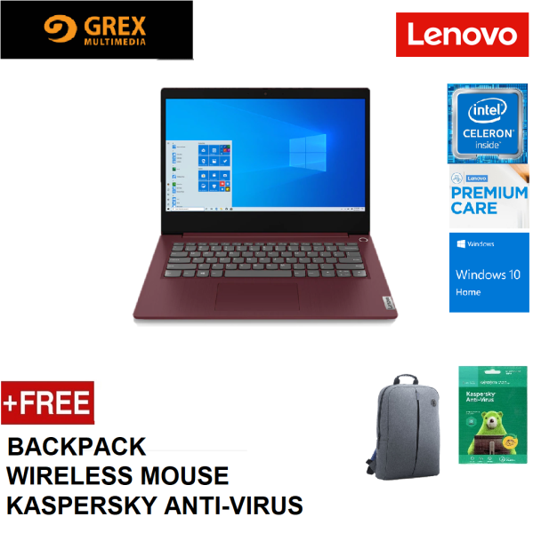 LENOVO IDEAPAD IP3-14IML 3-14IML05 81WA003CMJ / 81WA003BMJ  LAPTOP (CELERON 5205U,4GB,256GB SSD,14 HD,UHD GRAPHICS,WIN10) CARRY CASE + WIRELESS MOUSE + KSPSKY ANTI-VIRUS (IP3 IP3-14IML05) Malaysia