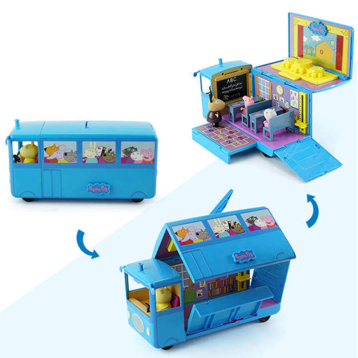 original peppa pig school bus variable classical scene action figures game love learning bureau and chair toys set children poison