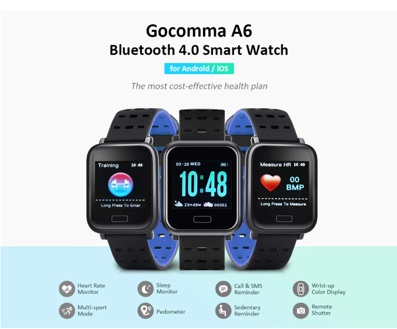 Smart Watch A6 For Men & Women Heart Rate Monitor Blood Pressure Waterproof Smart Bracelet Smart Watch Clock For IOS Android Phones Malaysia