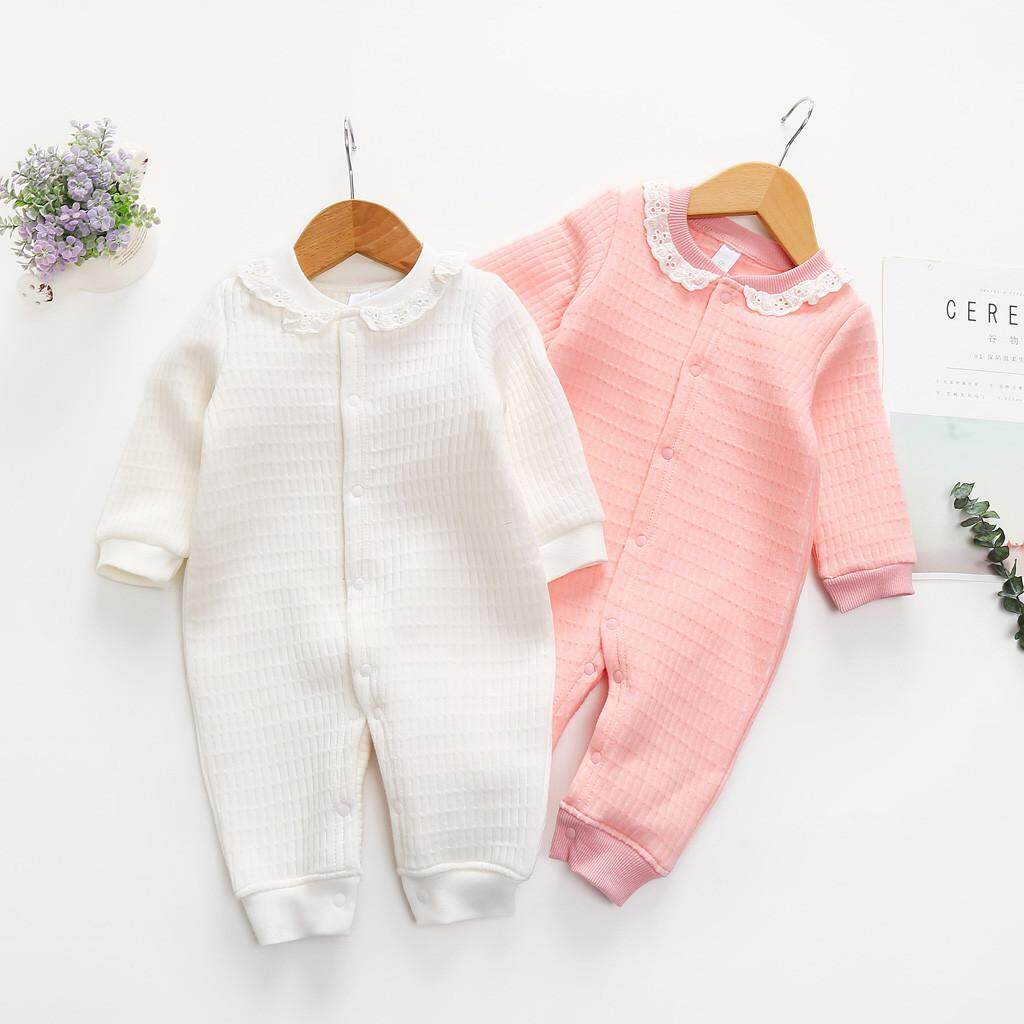 Hampdens Toddler Kids Baby Girls Soiod Lace Fastener Long Sleeve Romper Jumpsuit Clothes
