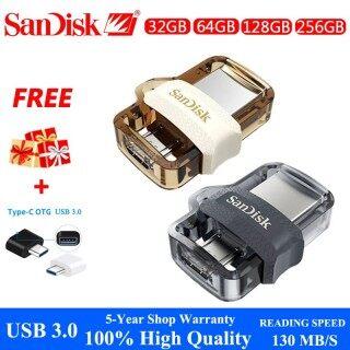 Sản Phẩm Chính Hãng + Miễn Phí + COD Ổ Đĩa Flash USB OTG Hai Ổ 128GB, USB3.0 Trong Suốt 32GB 256GB 64GB Đen Vàng -- DHSDOTG11 thumbnail