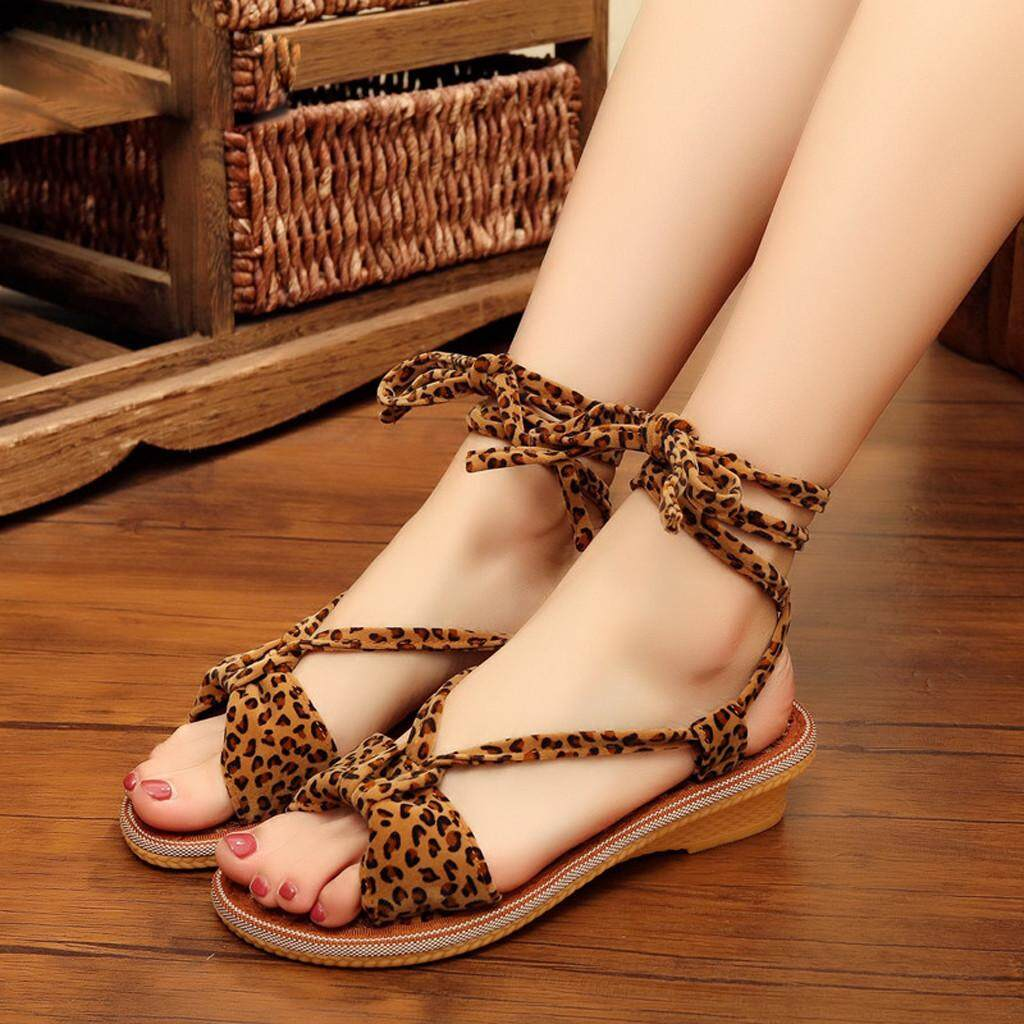 3481acd05cc cocofasion- Summer Sexy Women s Leopard Print Lace-Up Flats Ankle Shoes Peep