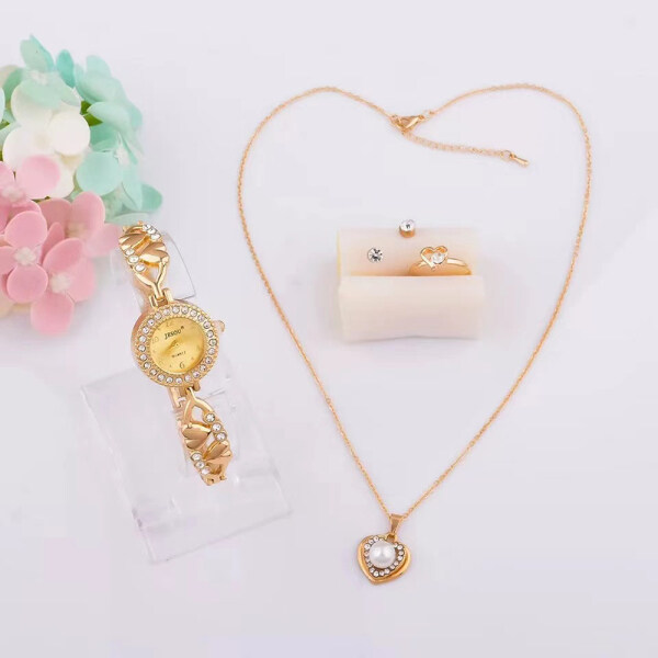 Women Bracelet Watch Set Gold Crystal Design Necklace Earrings ring Female Jewelry Set Quartz Watch for Womens Valentine Gifts Malaysia