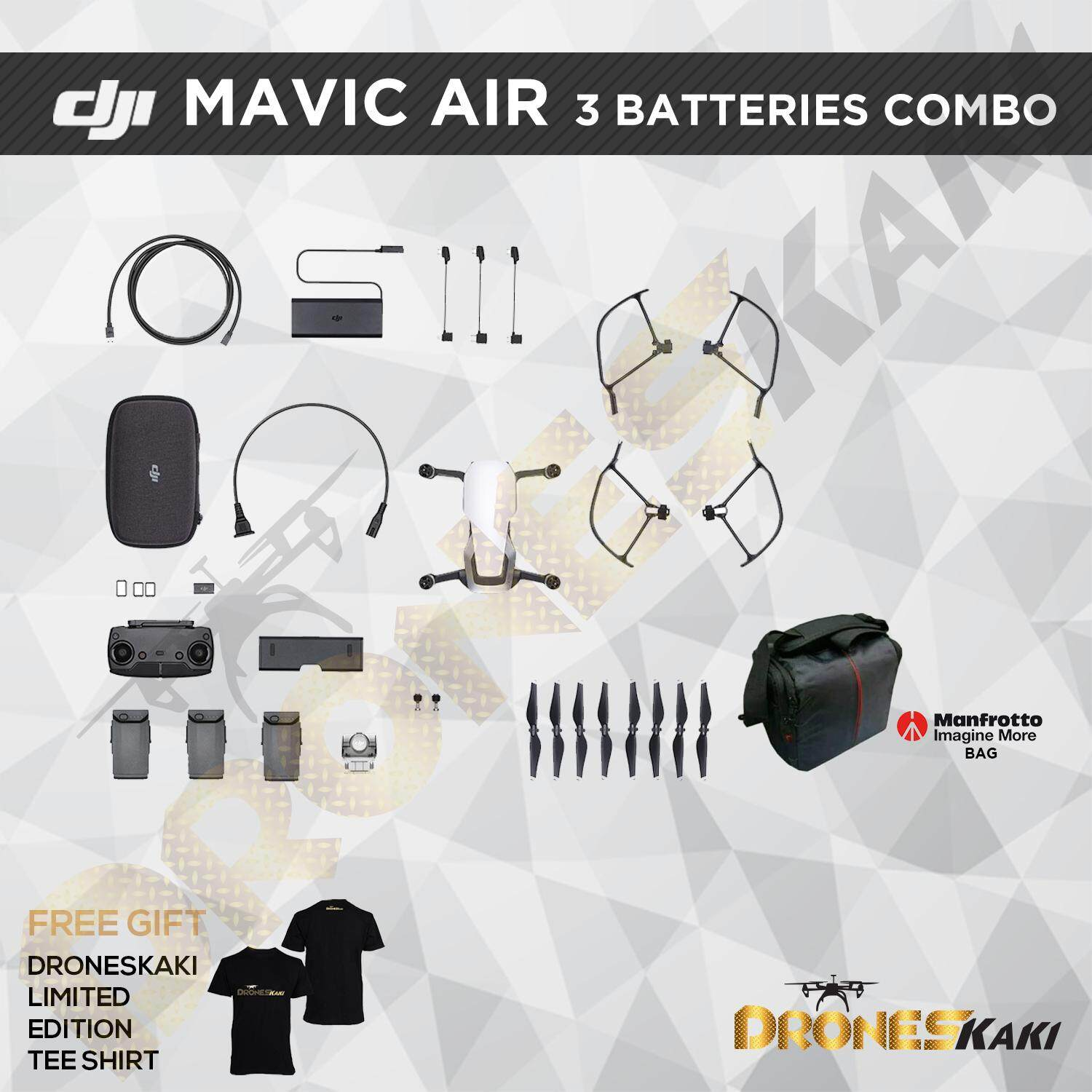 DJI Mavic Air 3 Batteries Combo (6 MONTHS EXTENDED WARRANTY ONLY AT  DRONESKAKI ONLINE STORE WORTH RM800)