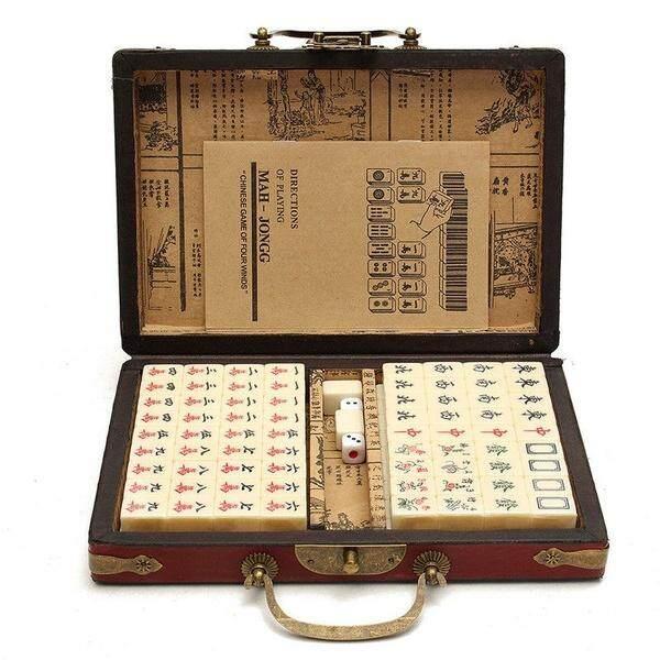 Mahjong Set Vintage Chinese Mahjong 144 Pcs Tiles Mahjong KitMaterial: High Density Fiber Board