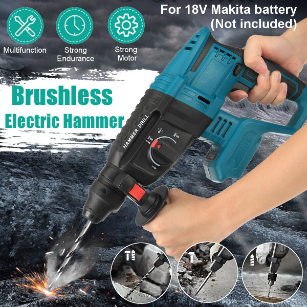 Multifunctional Electric Demolition Jack Hammer Impact Drill Concrete Breaker 10000bpm Rechargeable Electric Hammer with 1 Battery