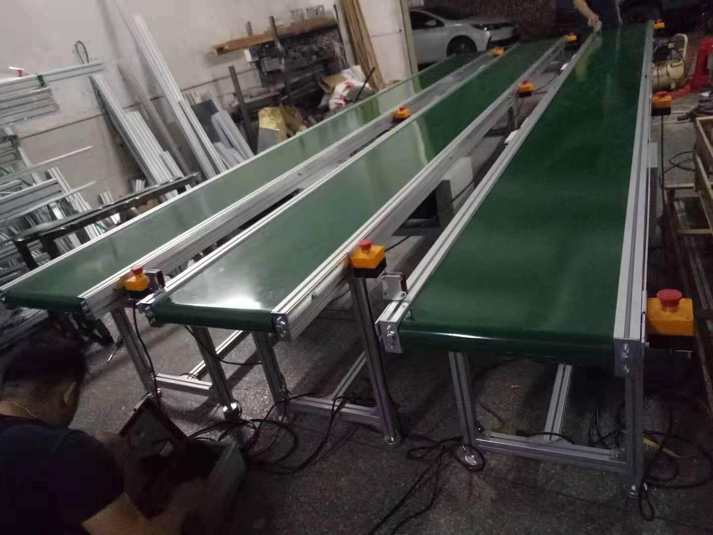 Assembly Line industrial transfer green pvc Belt Conveyor L5000*400* H750-850MM