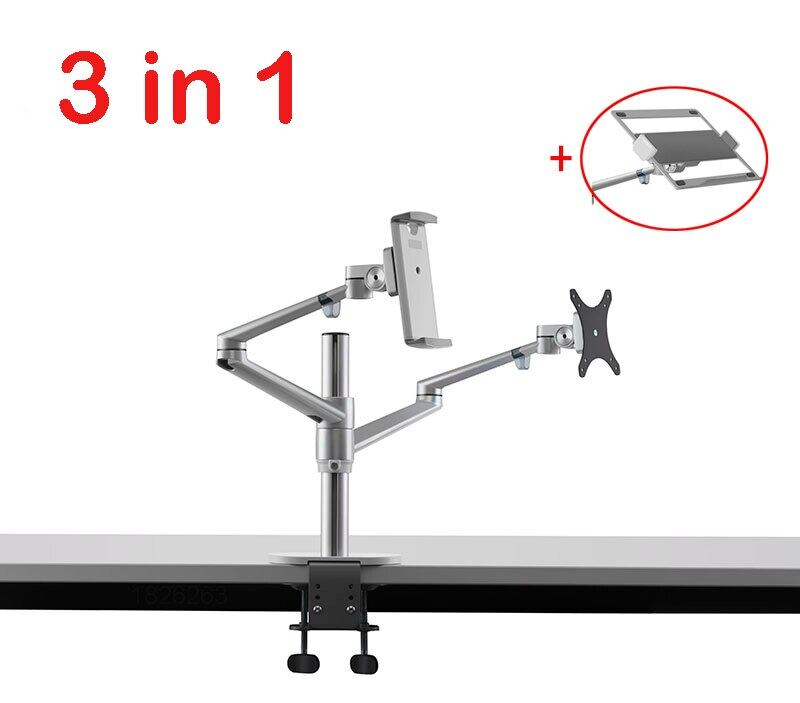 Ol-3T Aluminum 3 In 1 Height Adjustable Desktop Dual Arm 17-32 Inch Monitor Holder+10-17 Inch Laptop Stand +14 Inch Tablet Mount