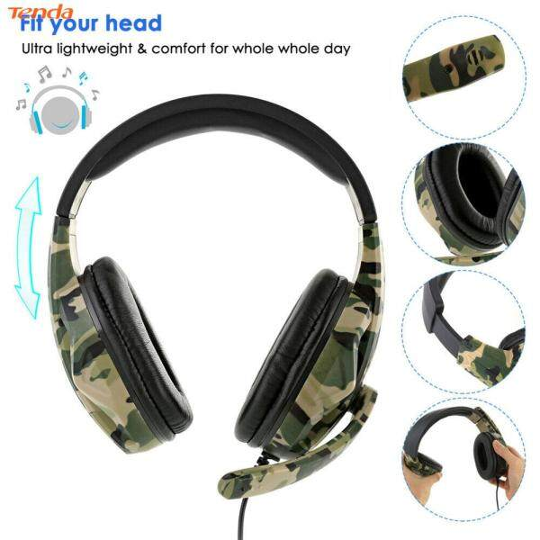3.5mm Wired Gaming Headset Camouflage Over Ear Headphones with Microphone