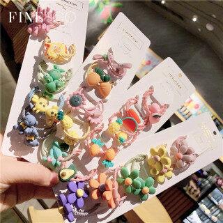Bộ 5 cái dây cột tóc phiên bản Hàn Quốc hình hoa trái cây dễ thương và nhiều màu sắc để lựa chọn - INTL thumbnail