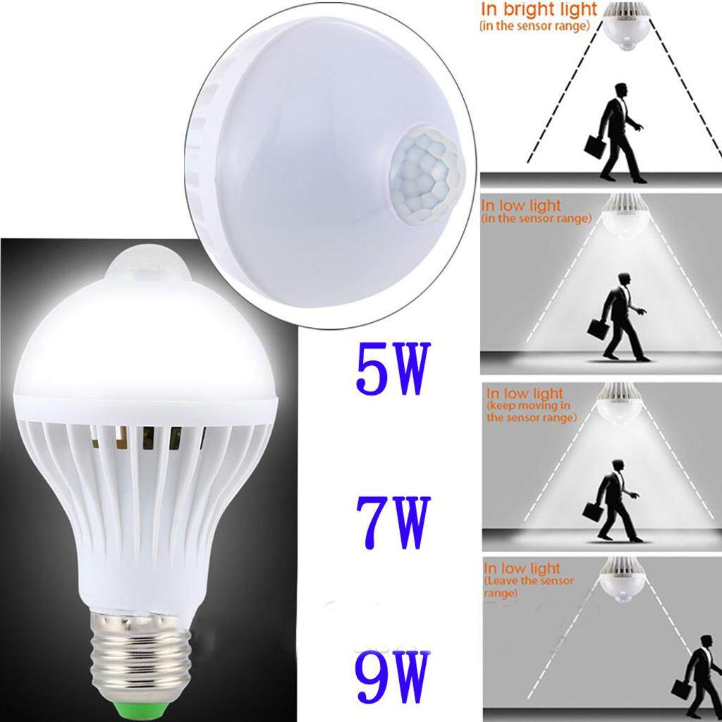Perfk LED PIR Motion sensor Auto Lamp Bulb Infrared Energy Saving Light 9W White
