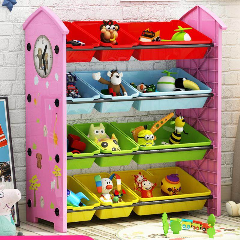 RuYiYu - 82 X 30 X 84cm / L W H, 4 Layers Kids Toy Organizer and Storage Bins, 12 Bins in Fun Colors, Toy Storage Rack