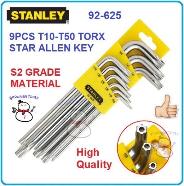 STANLEY 9PCS TORX KEY SET T10 - T50 Heavy Duty 92625 92-625 STAR ALLEN KEY SETS OPEN BUKA NUT FASTENING SPLINE HEX KUNCI 9 PCS LONG ARM STAR KEY SET HAND TOOL