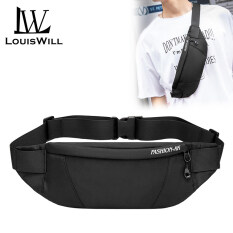 LouisWill Mens Waist Bag Men Waterproof Sling Bag Fanny Pack Waist Bag Large Capacity Wear-resistant Hip Belt Cross body Shoulder Pouch Purse Man Chest Bag Side Bag with Headphone Jack