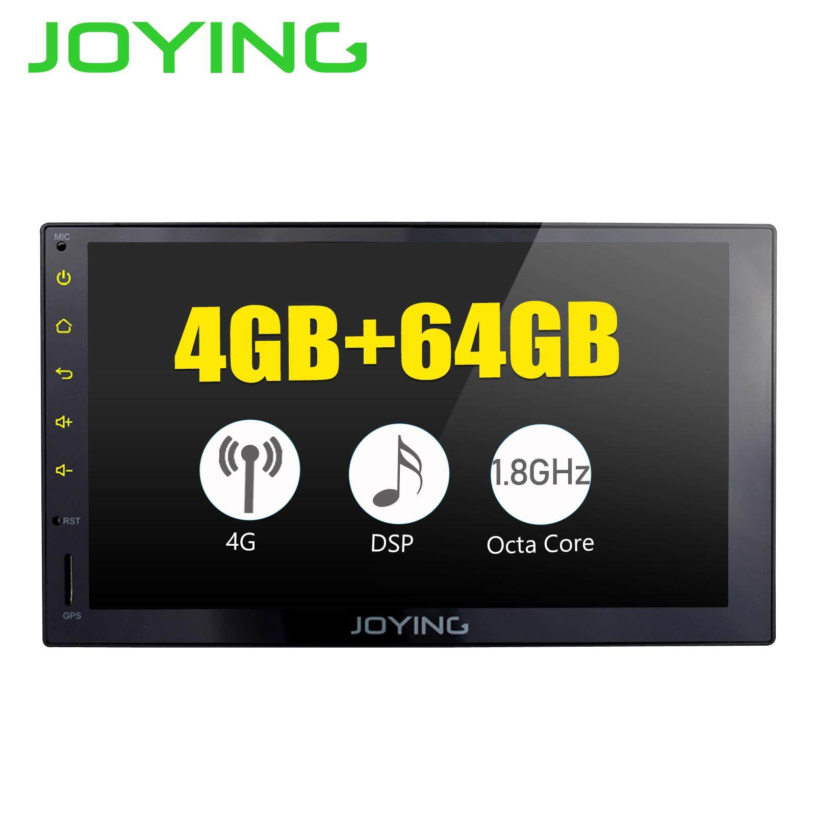 JOYING universal double din android 8 1 car stereo multimedia player octa  core 1 8GHZ 4GB RAM 64GB ROM bluetooth 4G WiFi head unit support steering