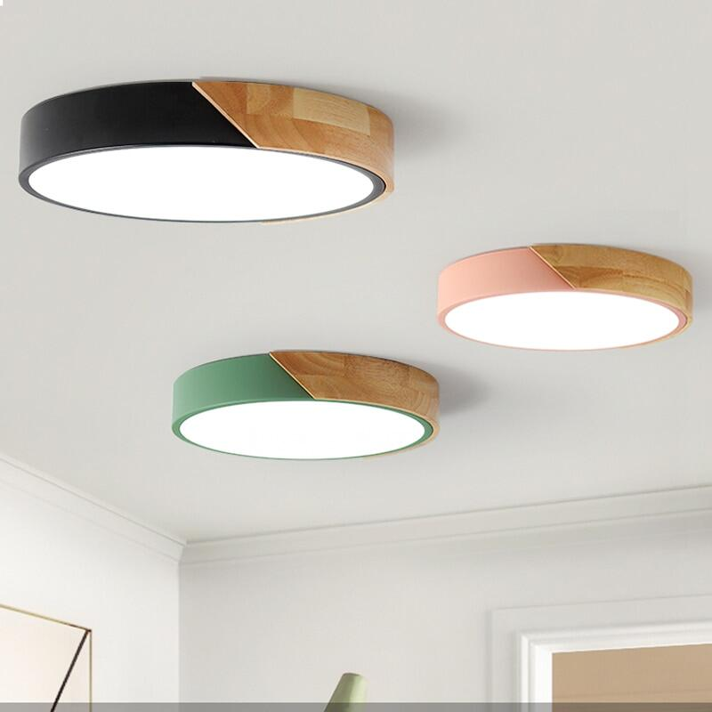 Lampu Plafon Kayu Nordik, Lampu Ruang Makan Warna-warni untuk Penerangan Rumah, Lampu Plafon Led Modern untuk Ruang Tamu Kamar Tidur