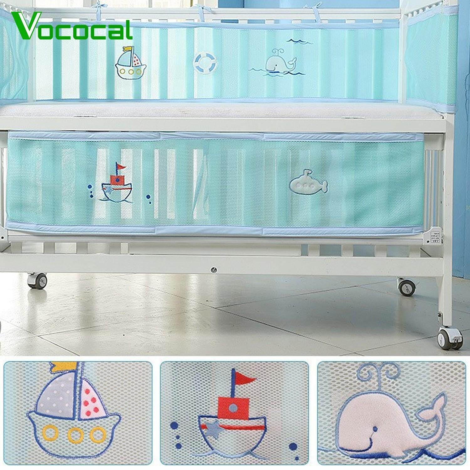 【Free shipping】Vococal 2PCS Cute Cartoon Breathable Washable Anti-Collision Anti-Fall Crib Bumper Liner Surround Pads for Infant Baby Toddler Boys Girls