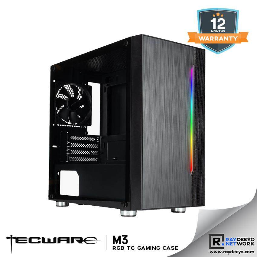 TECWARE M3 TG MATX TEMPERED GLASS GAMING CASE (WITH RAINBOW LED AT FRONT) [Matx, Mini-ITX] Malaysia