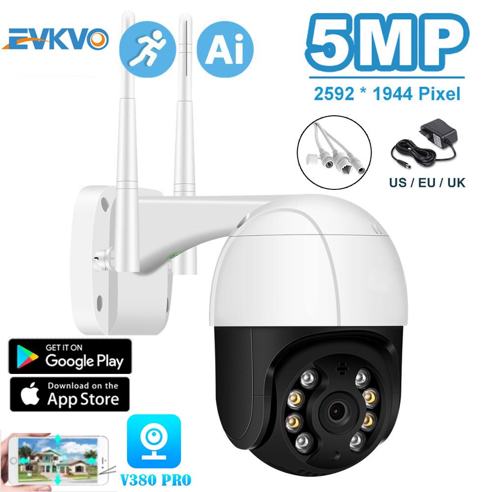 EVKVO Camera IP Wifi PTZ V380 PRO H.265 FHD 5MP, Camera Quan Sát PTZ Ngoài Trời Phóng To 4 Lần Camera Không Dây Phát Hiện Người AI, P2P ONVIF Bảo Mật Âm Thanh