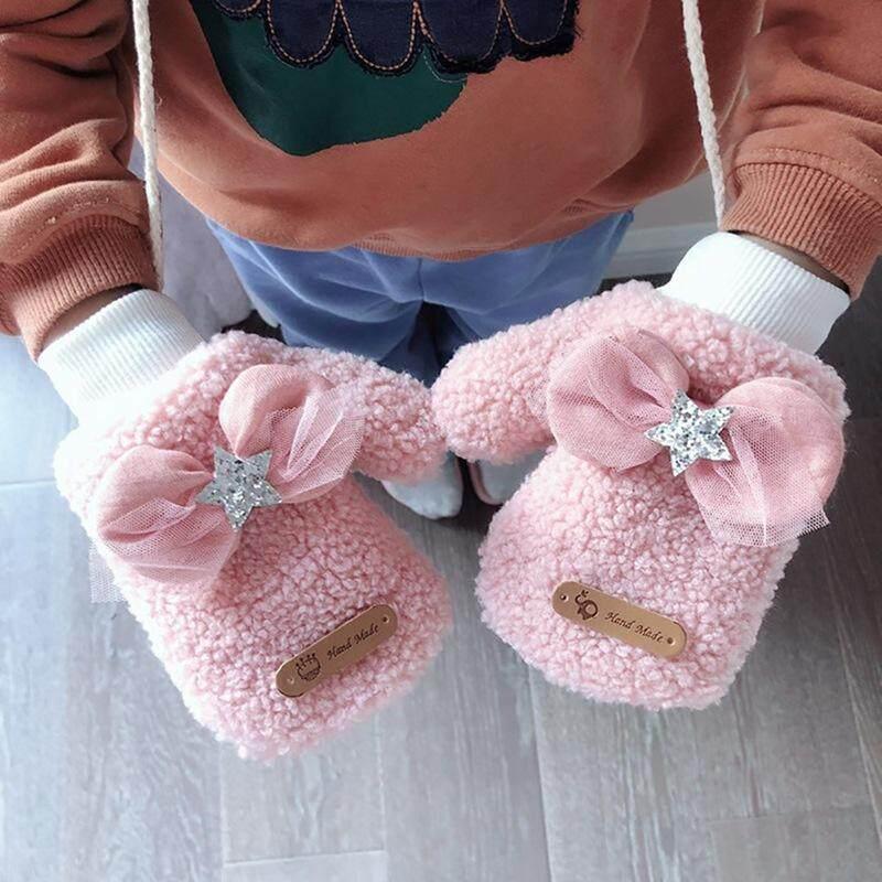 Giá bán BabyQT Tập Đi Cho Bé Găng Tay Làm Dày Bé Gái Bé Trai Full Ngón Tay Mùa Đông Ấm Áp Dệt Kim Găng Tay Hở Ngón Nơ Găng Tay