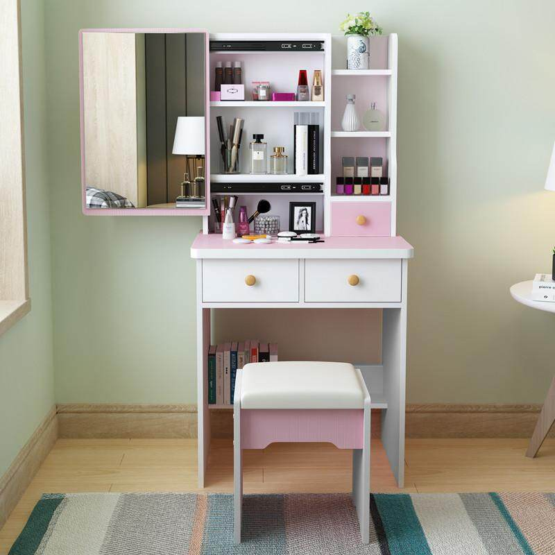 60cm in Width Vanity Set, Dressing Table with HD Push-pull Mirror and Stool, Big Drawers, Shelves for Brushes Nail Polishes and Cosmetic, Easy Assembly