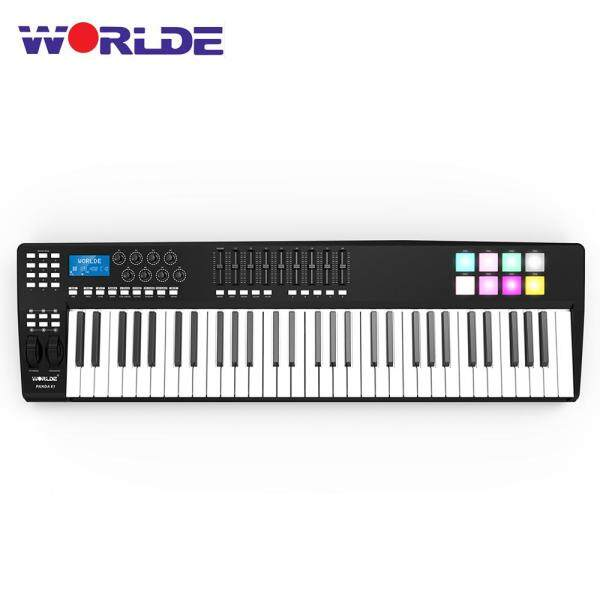 WORLDE PANDA61 Portable 61-Key USB MIDI Keyboard Controller 8 RGB Colorful Backlit Trigger Pads with USB Cable Malaysia