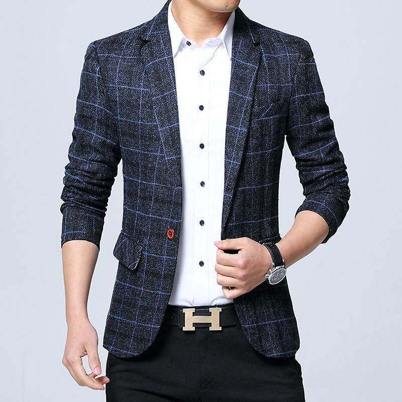 bab3362fc37 Men s Slim Fit Plaid Casual Business Blazers Male Working Suits Jackets  Outwear Coats