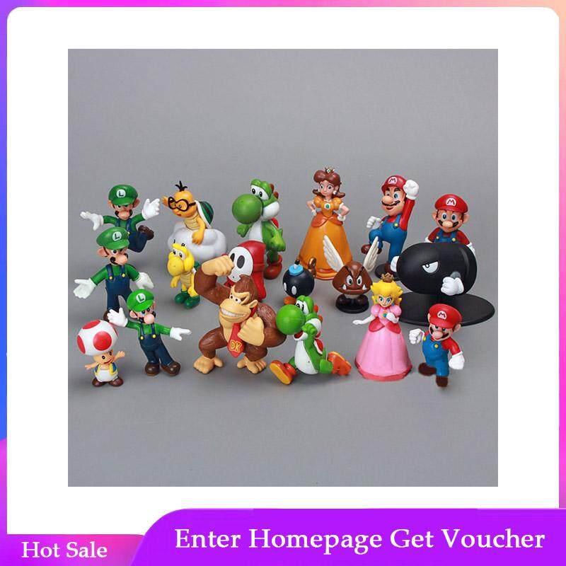 18pcs/Lot Mini Cute Figures  PVC Super Mario Bros Figurine Action Toy Doll For Kids