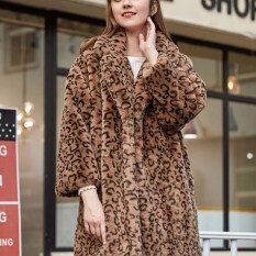 New Winter Leopard Print Loose Lapel Womens Fur Coat Fashion Long Imitation Mink Fleece Overcoat Luxury Thick Warm Female Plush Jacket