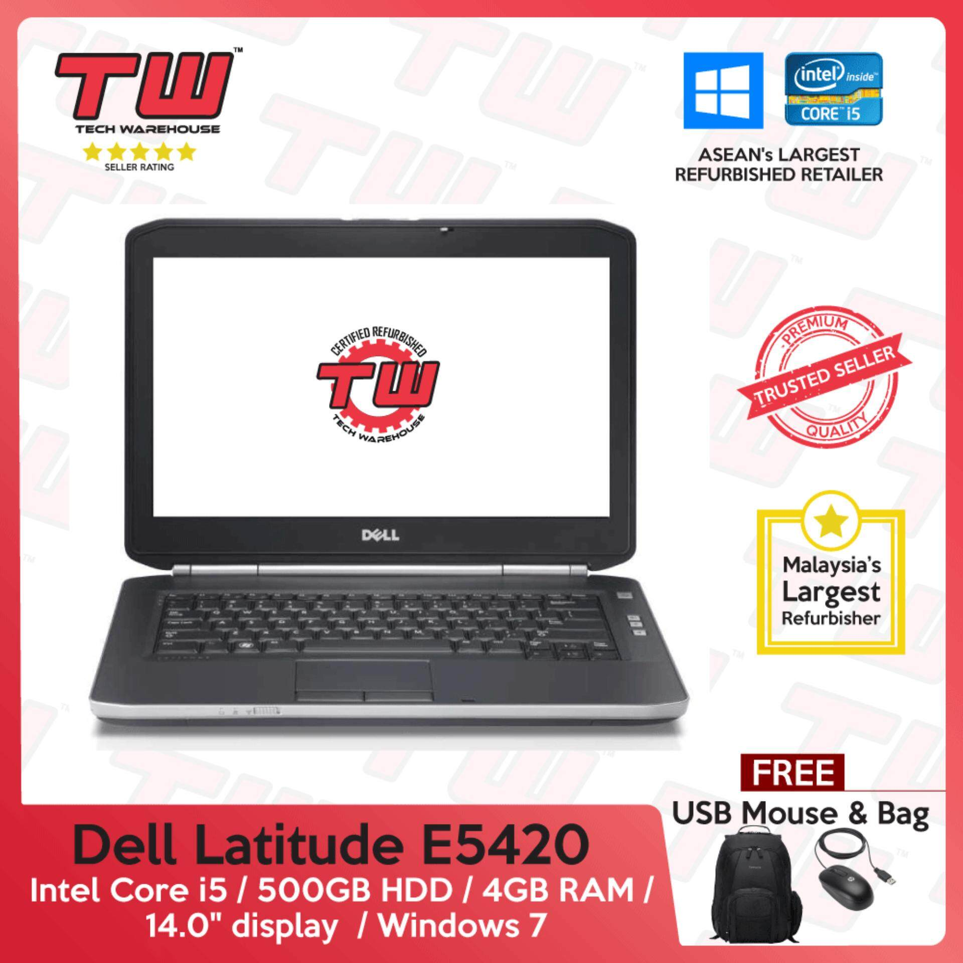 Dell Latitude E5420 Core i5 / 4GB DDR3 RAM / 500GB HDD / Windows 7 Laptop / 3 Month Warranty (Factory Refurbished) Malaysia