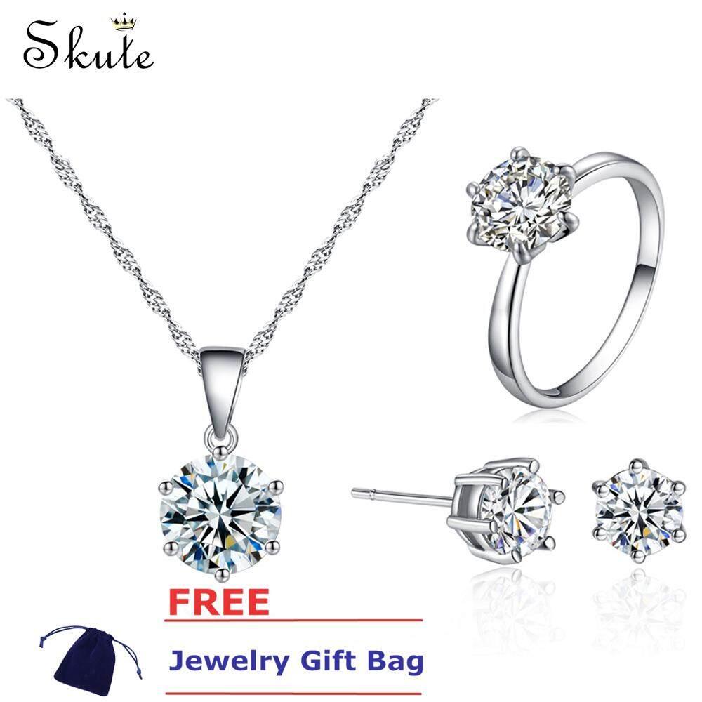 ❤Skute Perhiasan Mewah 8 Mm Besar Perangkat Perhiasan Berlian Berlian Imitasi S925 Perak Anting-
