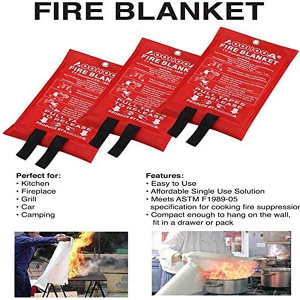 Home Fire Blanket Fiberglass Safety Fire Fighting Prevention ( 1.0m x 1.0m / 1.2m x 1.2m / 1.8m x 1.8m )
