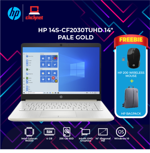 HP 14s-cf2030tu HD 14 Pale Gold (N4020, 4GB, 256GB Intel, W10H) Malaysia