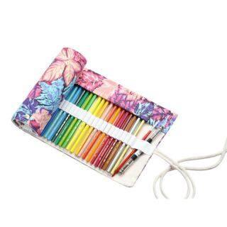 Maple Leaf Canvas School Pencil Case Roll Pencilcase Large Pen Bag Colored Pouch Case Escolar Penalty Supplies thumbnail