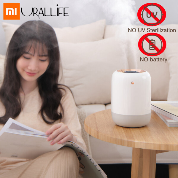 Xiaomi Ecological Chain Urallife UVC Sterilization Humidifier 1000ML Water Capacity UVC Disinfecting 3 Gears Timing On/Off Water Diffuser Mist Maker Double Nozzle Spraying Nano Mist Rechargeable/Plug-in Fog Sraying Device Air Purifier For Home Office