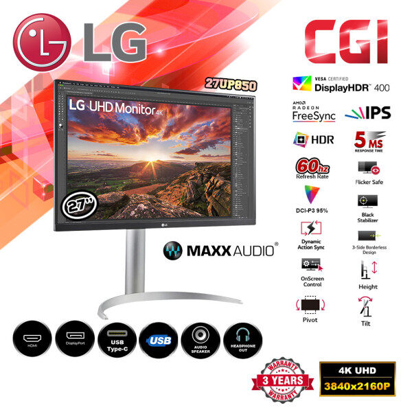 "LG 27"" 27UP850 5ms 60Hz IPS 4K UHD Vesa HDR400 AMD FreeSync USB-C Monitor Malaysia"