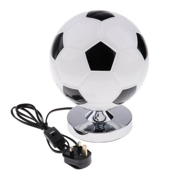 Fityle Kids Glass Football Study Bedroom Bed Side Table Desk Lampshade 220V UK Plug